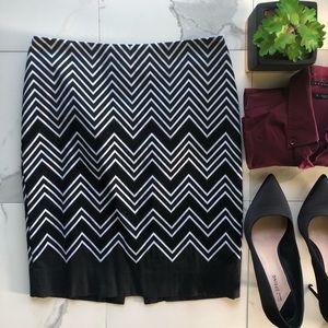 White House Black Market Chevron Pencil Skirt